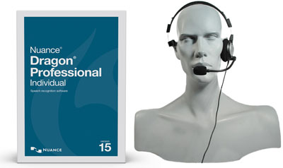 Nuance Dragon Professional Individual v15 with headset.