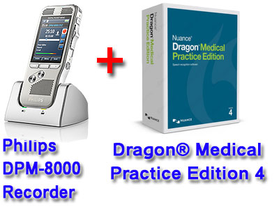 Professional Bundle: Philips DMP-8000 plus Dragon Medical Practice Edition 4