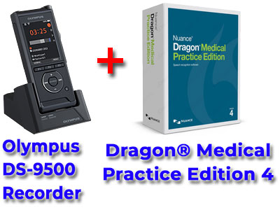 Professional Bundle: Olympus DS-9500 plus Dragon Medical Practice Edition 4