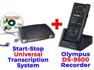 Picture of Olympus DS-9500 + Start-Stop UNIVERSAL Transcription System