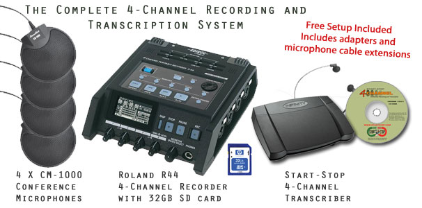 Start-Stop GoldenEar 4X Pro 4-Channel Conference Recording/Transcription System