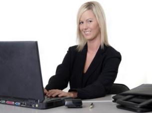 blonde typist-canstock