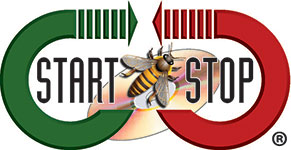 Start-Stop Logo with bee in center