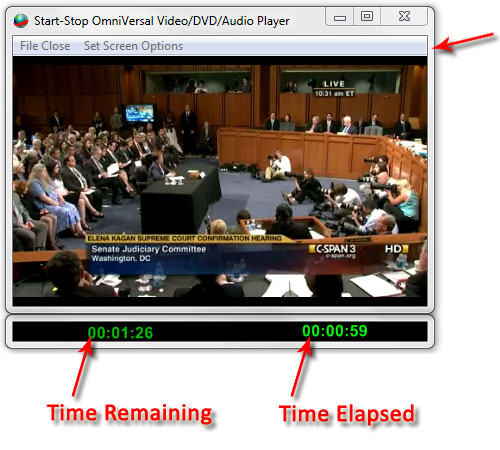 Picture Showing Start-Stop OMNIVERSE Video Window functions time remaining time elapsed