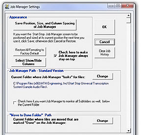 Start-Stop Ultra Job Manager Options Image