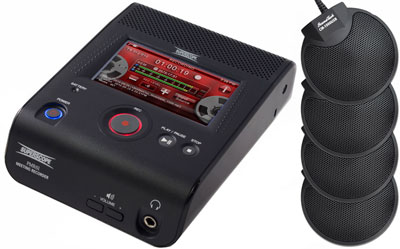 Showing angled view of the PMR61 Superscope Digital Audio Recorder plus four CM-1000 microphones