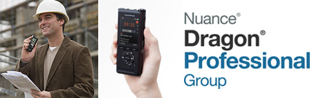 Image of a professional man, a handheld dictation recorder, and Dragon Professional Group