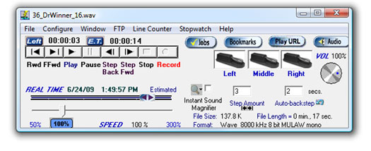 Start-Stop Transcriber for Call-In Recorder Main Screen