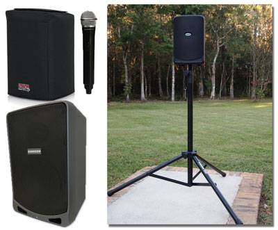 Photos of the PA speaker for the StartStop Puma set up and the carrying case and handheld microphone.