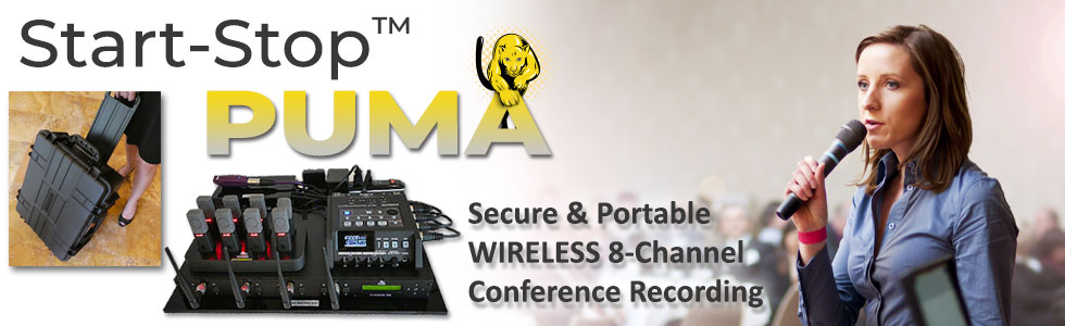 Banner image for Start-Stop PUMA Secure Portable Wireless 8-Channel Conference Recording System showing the PUMA at use in a conference setting.