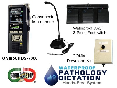 Start-Stop Waterproof Pathology Hands-Free Dictation System