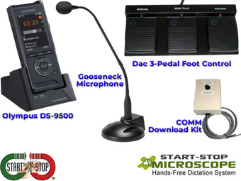 Start-Stop Microscope Hands-Free Dictation System