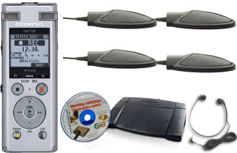 Start-Stop Low-Cost Conference Recording Systems Complete Kit with four Mics
