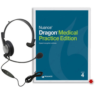 Dragon Medical Practice Edition 4 with headset.