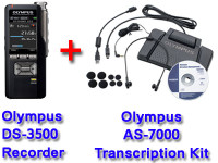 Olympus DS-3500 + Olympus AS-7000 Dictation and Transcription Bundle
