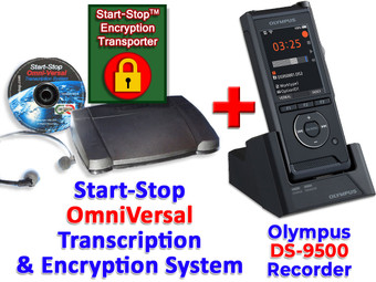 Olympus DS-9500 + Start-Stop® OmniVersal Audio/Video/DVD Transcription System + Start-Stop Encryption Transporter Bundle