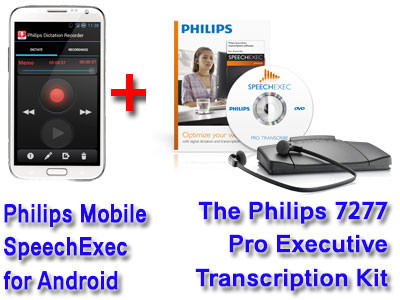 Philips LFH7430-LITE Mobile Recorder for Android + Philips 7277 Pro  Executive Transcription Kit Bundle