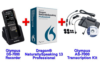 Power Professional Manual Transcription Bundle Option DS-7000 + Dragon 13 Professional + Olympus AS-7000 Transcription Kit