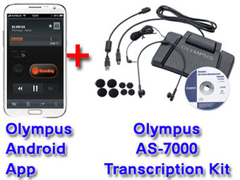 Olympus Mobile Phone Dictation App For Android + Olympus AS-7000 Transcription System Bundle