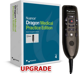 Nuance Dragon Medical Practice Edition 4 UPGRADE with PowerMic III (Note DMPE 4 Box shown for display purpose only. Upgrade will be sent as a digital download to your email.)