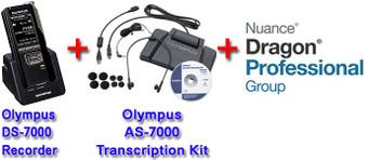 Power Professional Manual Transcription Bundle Option DS-7000 + Olympus AS-7000 + Dragon Professional Group 14 Transcription Kit