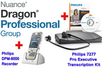 Professional Package: Dragon Professional Group 14 + Philips DPM-8000 + Philips 7277 Transcription Kit Bundle (71068)