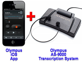 Olympus Mobile Phone Dictation App for iOS + Olympus AS-9000 Transcription System Bundle