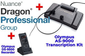 Power Professional Manual Transcription Bundle Option DS-9500 + Olympus AS-9000 + Dragon Professional Group 15 Transcription Kit