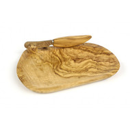 Butter Dish + Knife, Olive Wood