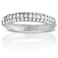 .63ct Diamond Pave Wedding Band set in 14k White Gold