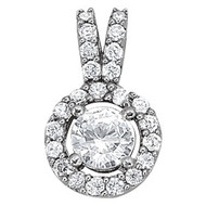 14k White Gold Diamond Halo Pendant (.75cts apx.)