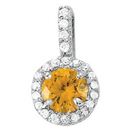 Citrine and Diamond Pendant set in 14k White Gold (.63ct t.w)