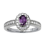 Oval Amethyst Diamond ring set in 14k White Gold (.24ct)