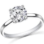 1/2 ct Round Diamond Solitaire Engagement Ring in 14k White Gold
