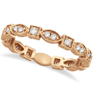 14k Rose Gold Antique Style Diamond Eternity Ring Band (0.36ct)