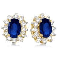 14k Yellow Gold Oval Blue Sapphire & Diamond Accents Earrings (2.05ct)