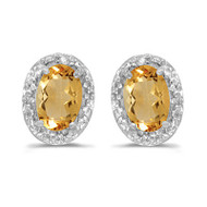 14k White Gold Diamond and Citrine Earrings (1ct t.w)