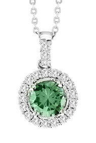 "18k White Gold Green Diamond Pendant (1.02ct t.w) with 16"" Chain"