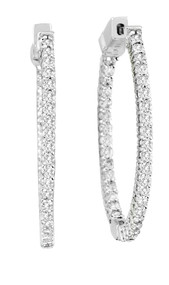 14k White Gold Diamond Hoop Earrings (1.00ct t.w)