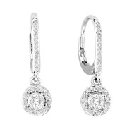 14k White Gold Halo Diamond Lever Back Earrings (.70ct t.w)