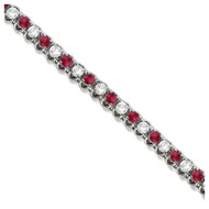 Round Ruby & Diamond Tennis Bracelet In 14k White Gold (4.75ct T.W)