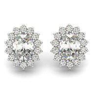 14k White Gold Oval Diamond Earrings (1.00ct t.w)