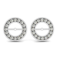 14k White Gold Round Diamond Earring Jacket (.50ct t.w)