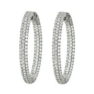 14k White Gold Diamond Hoop Earring(2.68ct t.w)
