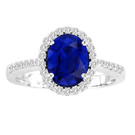 Oval Sapphire and Diamond Ring in 14k White Gold(2.05ctw)
