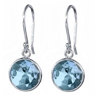 6.50CT T.W Roung Blue Topaz Earrings set in .925 Sterling Silver