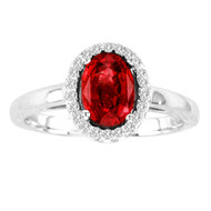 Oval Ruby and Diamond Halo Ring in 14k White Gold(1.68ctw)