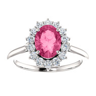 14k White Gold Oval Pink Tourmaline and Diamond Ring(2.00ctw)