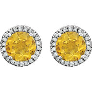 14k White Gold Round Citrine and Diamond Halo Earring(2.63ctw)
