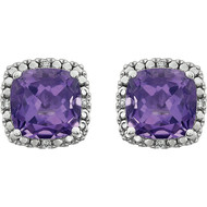 14k White Gold Cushion Cut Amethyst and Diamond Earrings(4.12ctw)